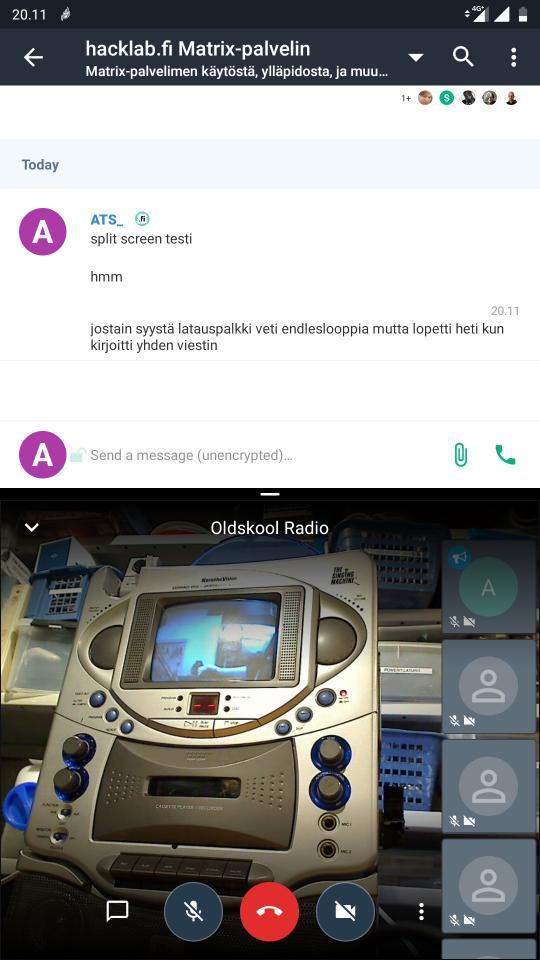 Jitsi+Matrix split screen androidilla.